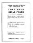 1946 Craftsman 103.23130 15 Drill Press-operating Instructions And Parts List