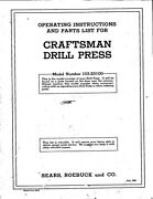 1946 Craftsman 103.23100 Drill Press Operating Instructions And Parts List