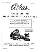 1966 Atlas 10f-series 10 Lathes-illustrated Parts List Instructions