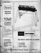 1979 Craftsman 113.206931 And 113.206801 6 1/8 Jointer-planer With Legs