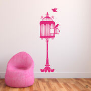 Opened Birdcage On Stand With Two Birds Vinyl Wall Decal - Fits Kid's Room K676