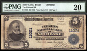5 1902 Citizens National Bank Of Sour Lake Texas Ch 11021 Pmg 20 Only 9 Large