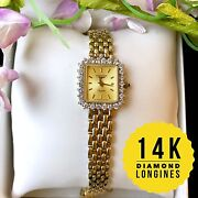 Longines Ladies 14k Solid Gold With Diamond 1 Ctw Watch, Rectangle Case