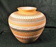 "Signed Bernice Watchman Navajo Terracotta Etched Large Pottery Vase 9"" Diameter"