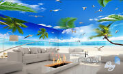 3d Palm Tree Beach View Seagull Ceiling Entire Living Room Wallpaper Wall Mural