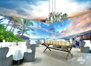 3d Beach Rocks Seagull Clouds Entire Living Room Business Wallpaper Wall Mural A