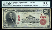 20 1902 The Midway National Bank Pennsylvania Ch 6626 Tough Red Seal For Bank