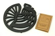 Cast Iron Old Mountain Rooster Trivet W/ Rubber End Legs Kitchenware 7.5