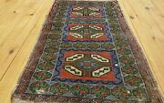 Antique Tribal Cushion Cover Wool Pile Rug Turkey 1andrsquo9andrdquox 3andrsquo1andrdquo
