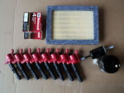Complete Tune Up Kit 8+coils Red+ 8 Plug Sp515/sp546+ Air, Gas, Oil Filter