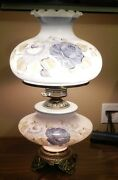 Antique Style Brass Base Table Lamp With Glass Chimney And Floral Glass Shades