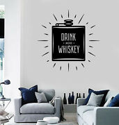 Wall Vinyl Decal Flask Labeled Drink More Whiskey Home Decor Z4783