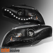 Fit 2006-2008 Audi A4 Drl Led Projector Halogen Type Black Headlights Assembly