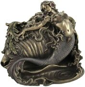 Mermaid And Conch Shell Ring Trinket Box Nautical Decor Sculpture Figurine Statue