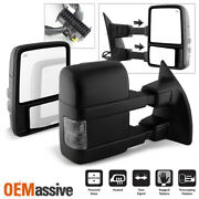Fit 08-16 F250/f350/f450/f550 Superduty Power Heated [smoked Signal] Tow Mirrors