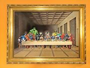 Large Piece Of Art Featuring Marvel Super Heroes At Last Supper
