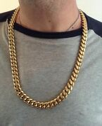 Men Cuban Miami Link Bracelet And Chain Set Stainless Steel 18k Gold Plated