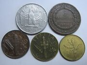 Italy Lot 5 Coins 1826 1836 1939 1940 1958
