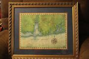 Gulf Coast 1800and039s Map Art 26 X 22 Original Drawing Rich Britnell Framed Print