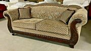 Roll Arm Pine Camel Back Sofa Sectional Blue Brown Floral Paisley Flowers Couch