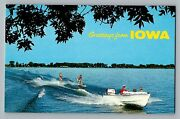 Greetings From Iowa Ia Boat Waterskiing Lake View Vintage Color Postcard 1960s