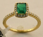 18k Yellow Gold Emerald Diamond Ring Size 6 1/2 New With Tags