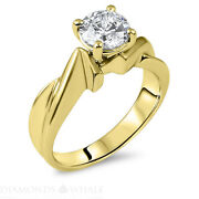 Real 14k Round Diamond Ring 1.01 Ct Si2/f Yellow Gold Engagement Ring Enhanced