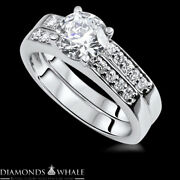 Vs2/d 1.27 Tc White Gold Enhanced Round Bridal Diamond Ring Solitaire Accents