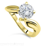 Round Solitaire Enhanced Diamond Ring 1.02 Ct Si1/f Yellow Gold 14k Engagement