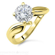 Round Solitaire Enhanced Diamond Ring 1.02 Ct Si1/g Yellow Gold 14k Engagement