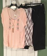 New American Vintage And Milkyway Med Tops Styleandco 12 Cargo Capris - Free Jewelry