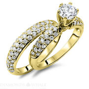 Wedding Round Enhanced Diamond Ring Solitaire Accents F/vs1 0.7 Tcw Yellow Gold