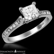 Bridal Enhanced Diamond Ring Solitaire With Accent Vs2/d 1.21 Tcw Princess Cut