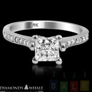 Engagement Princess Diamond Ring Si1/f 1.2 Ct White Gold Accents Enhanced