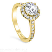 Solitaire With Accent 1.5 Tcw Diamond Enhanced Ring Yellow Gold Si1/f Round