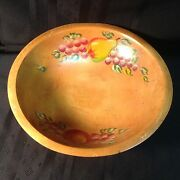 Vintage ,hand Painted, Wooden Fruit/salad Bowl By Woodcroftery  A