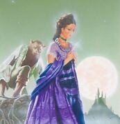 Original Gothic Werewolf And Damsel Illustration Horror Cover Style Art Painting