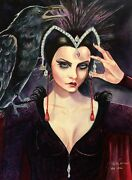 Original Gothic Witch And Raven Horror Illustration Cover Style Art Painting