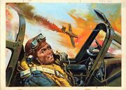 Original Ww2 Military Pulp Aviation Illustration Cover Art Painting Wwii