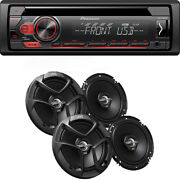 Pioneer Deh-s1100ub Cd Mp3 Stereo, Aux With 2 Pairs Jvc 6.5 Car Speaker