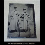 Antique 1/6 Tintype Photograph 2 Young Ladies With Their Big Wheel Bicycles