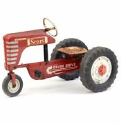 Sears Vintage Toy Tractor Pedal Car Never Used. Barn Find Diesel With Trailer