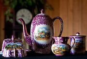 Grays Pottery Dickens Days Teapot Sugar Dish Creamer And Butter Dish
