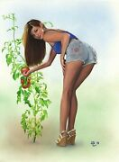 Original Pin Up Painting Lovely Young Farm Girl Painting Female Woman Pinup Art