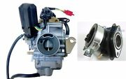 24mm Gy6 150cc Carburetor And Intake Manifold Moped Scooter Go Kart 9 Ca10+in05