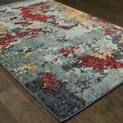 Evolution By Oriental Weavers. Contemporary Abstract Area Rug. Blue/red 8036c