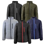 Mens Puffer Jacket Coat Outerwear Layer Cold Contrast Trim Zipper Packable Nwt
