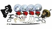 Deluxe 1966-70 Chevy Impala Power Front And Rear 4 Wheel Disc Brake Kit - 2 Drop