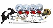 Deluxe 1964-66 Chevy Chevelle Power Front And Rear 4 Wheel Disc Brake Kit, 2 Drop