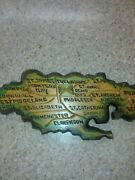 Jamaica Country Black Yellow Green Colored Handmade Wood Carving Wall Decor